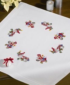 Mr and Mrs Elf Tablecloth -  Christmas Embroidery Kit
