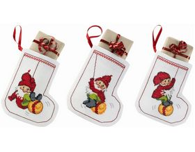 Bauble Elves Tree Stockings -  Christmas Cross Stitch Kit