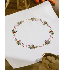Cardinal and Berries Tablecloth -  Christmas Embroidery Kit