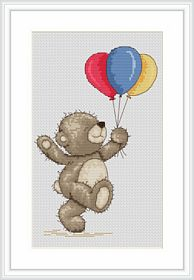 Bruno with Balloons -  Cross Stitch Kit