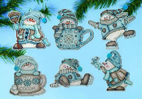 Cocoa Snowmen Ornaments -  Christmas Cross Stitch Kit