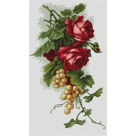 Red Roses with Grapes -  Cross Stitch Kit