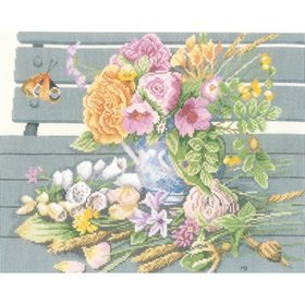 Flowers on a Bench - Aida -  Cross Stitch Kit