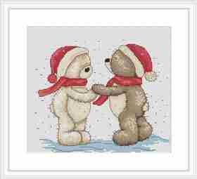 Bruno and Bianca in the Snow -  Christmas Cross Stitch Kit