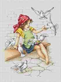 Girl with Doves -  Cross Stitch Kit