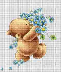 Bear with Forget-Me-Nots -  Cross Stitch Kit
