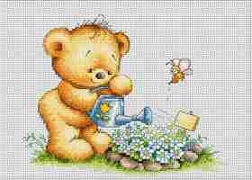 Bear with Watering Can -  Cross Stitch Kit