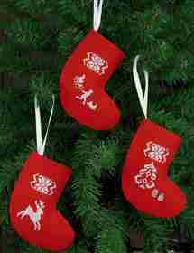 Reindeer Tree Stockings - Red -  Christmas Cross Stitch Kit