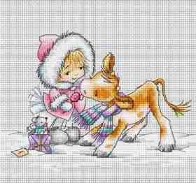 Girl with Calf -  Christmas Cross Stitch Kit