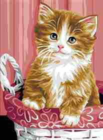Kitten in a Basket -  Christmas Tapestry Canvas