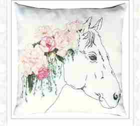Floral Horse Pillow -  Cross Stitch Kit