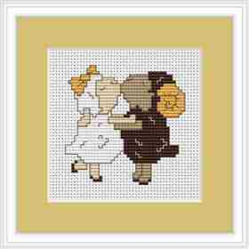Sheep in Love Mini Kit -  Cross Stitch Kit