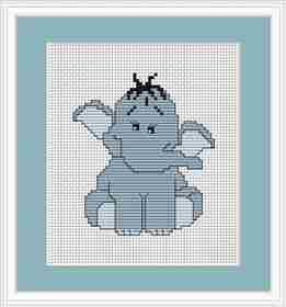 Blue Elephant Mini Kit -  Cross Stitch Kit