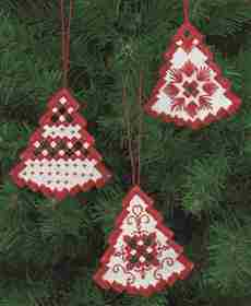 Red Tree Christmas Decorations -  Christmas Embroidery Kit