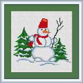 Snowman with Twig -  Christmas Cross Stitch Kit