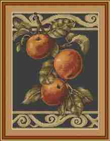 Apples on Black -  Cross Stitch Kit
