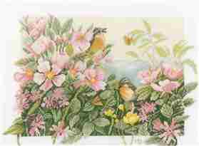 Birds and Roses -  Cross Stitch Kit
