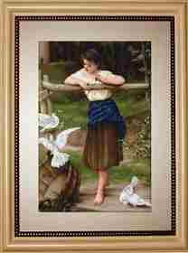 Girl Playing with Pigeons -  Cross Stitch Kit
