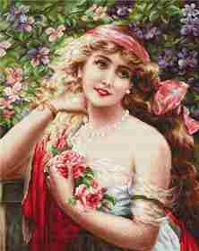 Young Lady with Roses -  Cross Stitch Kit