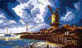 Stormy Windmill -  Tapestry Canvas