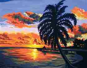 Tropical Sunset -  Tapestry Canvas