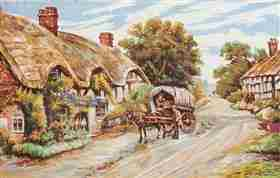 Thatched Cottage Lane -  Tapestry Canvas