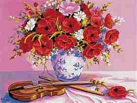 Violin and Poppies -  Tapestry Canvas