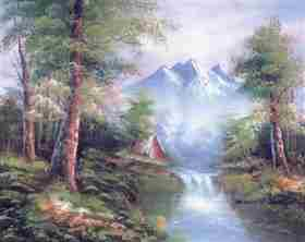 Mountain Cascades -  Tapestry Canvas