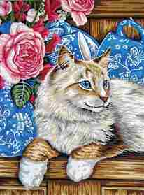 Cat on the Shelf -  Tapestry Canvas