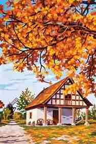 Autumn Cabin -  Tapestry Canvas