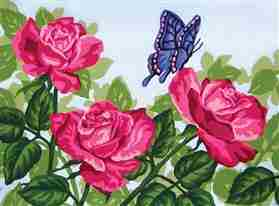 Pink Roses and Butterfly -  Tapestry Canvas