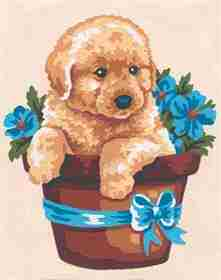 Puppy and Flowers -  Tapestry Canvas