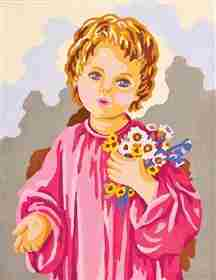 Child with Flowers -  Tapestry Canvas