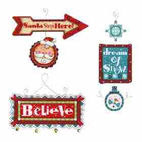 Whimsical Signs Ornaments -  Christmas Cross Stitch Kit