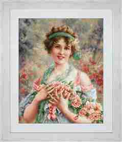 The Girl with Roses -  Cross Stitch Kit
