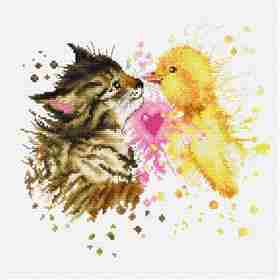 Kitten and Duckling -  Cross Stitch Kit