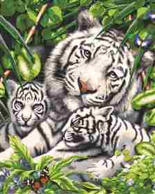 White Tiger and Cubs -  Tapestry Canvas