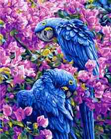 Blue Parrots -  Tapestry Canvas