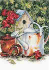 Watering Can & Birdhouse -  Cross Stitch Kit