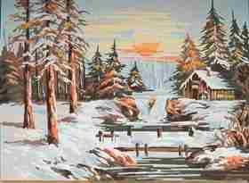 Winter Sunset -  Tapestry Canvas