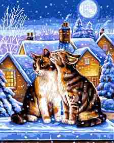Winter Night -  Christmas Tapestry Canvas
