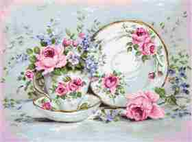 Trio with Blooms on Aida -  Cross Stitch Kit