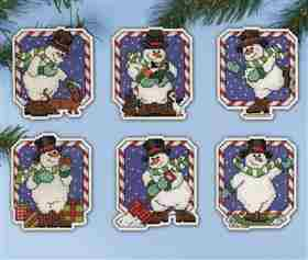 Candy Cane Snowman Ornaments -  Christmas Cross Stitch Kit