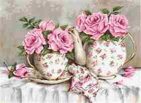 Morning Tea and Roses on Aida -  Cross Stitch Kit