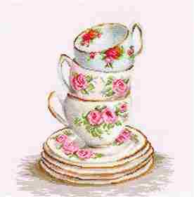 Three Stacked Cups -  Cross Stitch Kit
