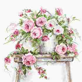 Roses on a Stool -  Cross Stitch Kit