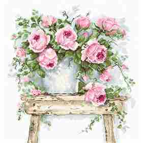 Flowers on a Stool on  Aida -  Cross Stitch Kit