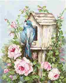 Bird House with Roses -  Cross Stitch Kit