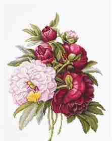 Bouquet with Peonies -  Cross Stitch Kit