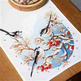 Long-Tailed Tits and Berries Runner -  Christmas Cross Stitch Kit